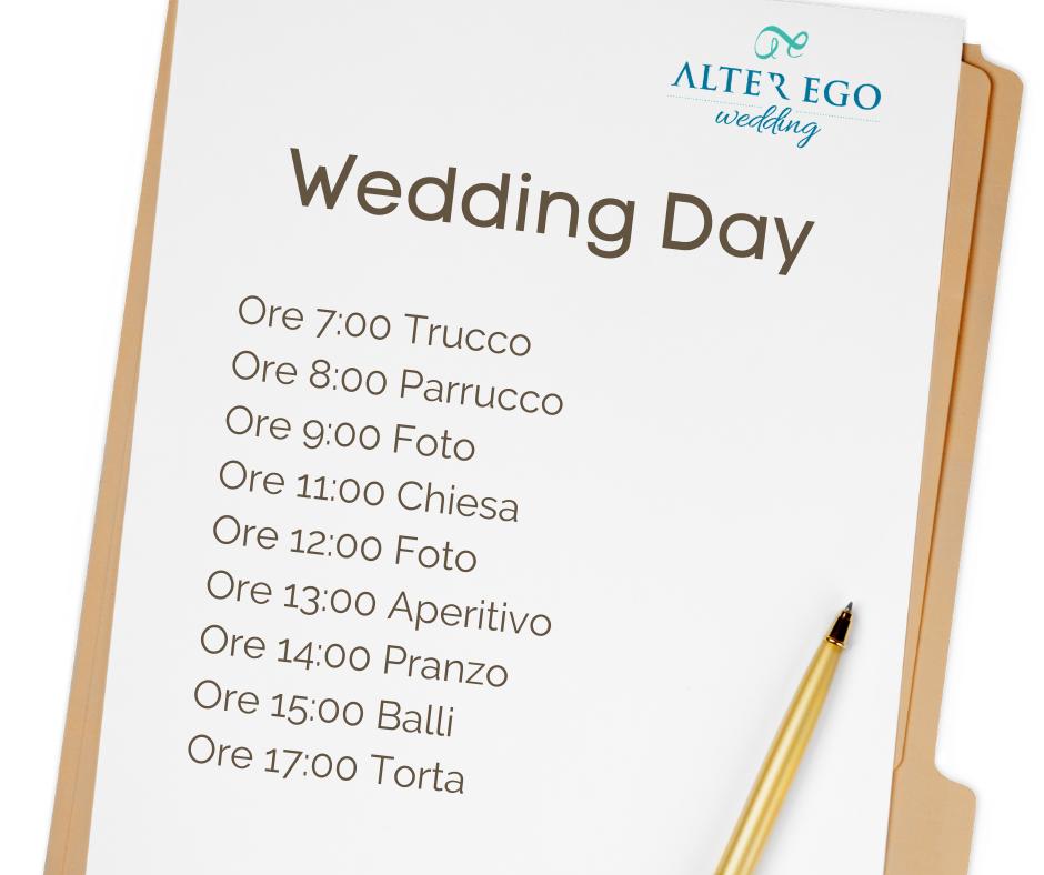 coordinare matrimonio | scaletta matrimonio | time line matrimonio | alter ego wedding